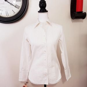 J. Crew Laura Femme Fit White Button Up Career Top